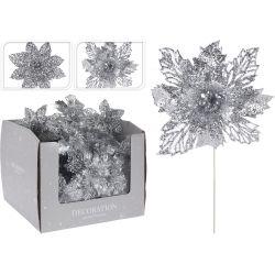 Kwiat na patyku srebrny, 21 cm