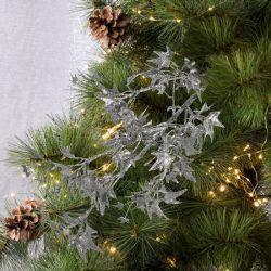 Gałązka dekoracyjna brokatowa ostrokrzew 78 cm
