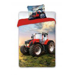 Pościel bawełniana czerwony traktor 160 x 200 cm FARO