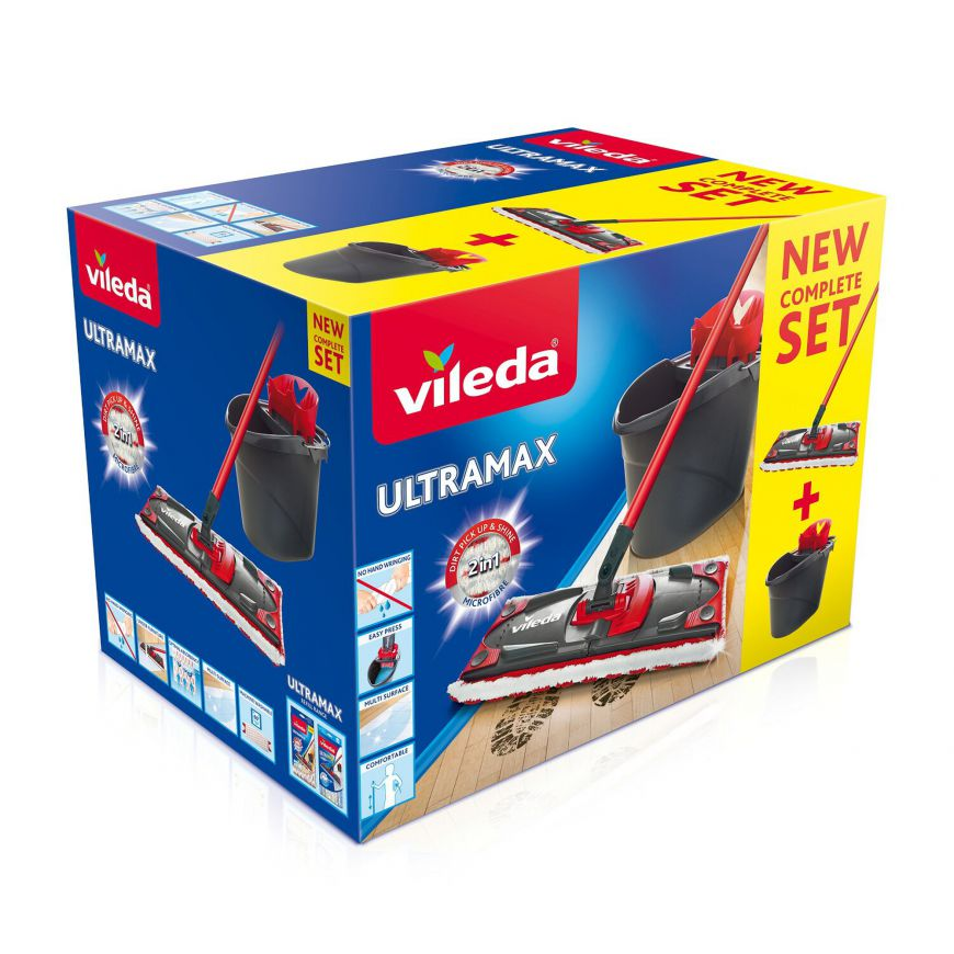 Vileda Ultramat Turbo Mop płaski + wiadro z systemem obrotowego sita