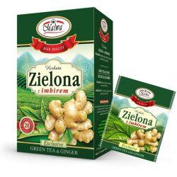 Malwa Herbata Zielona z Imbirem, 20 torebek w kopertach