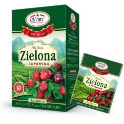 Malwa Herbata Zielona z Żurawiną, 20 torebek w kopertach
