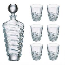 Bohemia Zestaw szklanek do whisky + karafka Wave, 6+1 szt