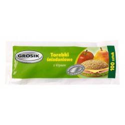Grosik Torebki śniadaniowe z klipsem 17 x 24 cm