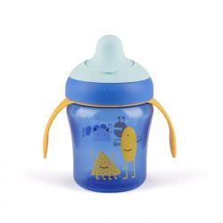 Suavinex Kubek niekapek Booo, niebieski 200 ml, 4m+