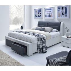 CASSANDRA S 160 cm łóżko tapicerowane z szufladami czarno-biały (5p 1szt)