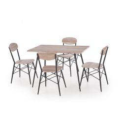 KABIR prostokąt zestaw stół + 4 krzesła dąb san remo / czarny (2p 1szt)