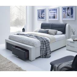 CASSANDRA S 140 cm łóżko tapicerowane z szufladami czarno-biały (5p 1szt)