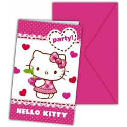 Zaproszenia Na Party 6 szt. Hello Kitty Banquet