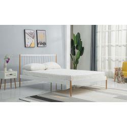 LEMI 120 cm łóżko metalowe biały / naturalny (2p 1szt)