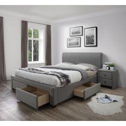 MODENA 140 cm łóżko tapicerowane z szufladami popiel (6p 1szt)
