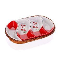 Banquet Zestaw misek do serwowania w koszyku Poppy Red, 4 el.