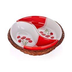 Banquet Zestaw misek do serwowania w koszyku Poppy Red, 2 el.