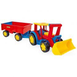 Gigant traktor z łyżką i przyczepą Wader